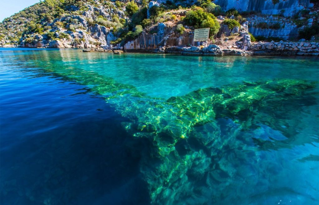 Sunken ancient city of Simena, Kekova Turkey