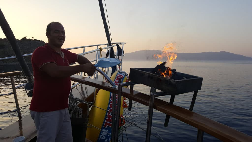 Blue Cruise barbeque on a Turkish gulet is great in September and October