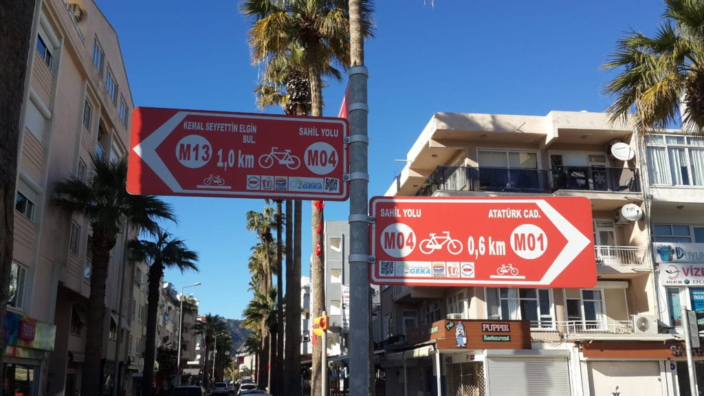 Biking route signs all throughout Marmaris and the villages and towns in the Gulf of Hisaronu